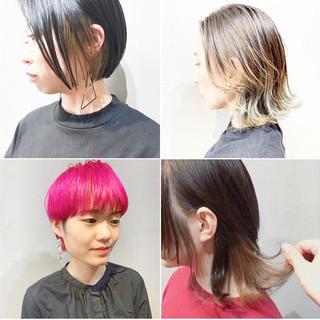 ショート ストリート インナーカラー ショートボブ ヘアスタイルや髪型の写真・画像