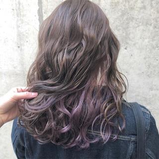 ラベンダー セミロング インナーカラー 外国人風カラー ヘアスタイルや髪型の写真・画像
