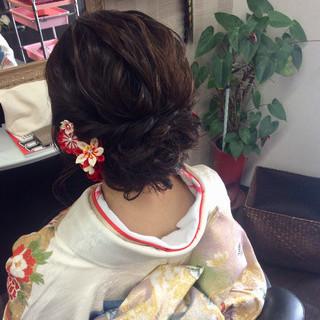 エレガント 結婚式 着物 セミロング ヘアスタイルや髪型の写真・画像