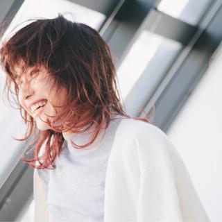 ミディアム ハイライト ストリート ウルフカット ヘアスタイルや髪型の写真・画像