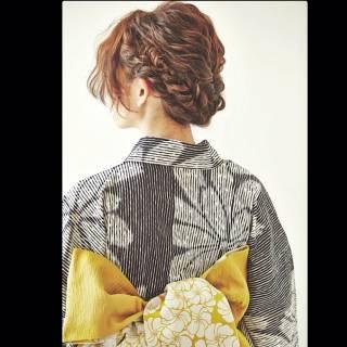 夏 花火大会 ヘアアレンジ ナチュラル ヘアスタイルや髪型の写真・画像