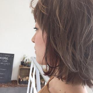 ピンク インナーカラー ボブ ナチュラル ヘアスタイルや髪型の写真・画像