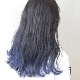 外国人風カラー 透明感カラー バレイヤージュ ブルー ヘアスタイルや髪型の写真・画像
