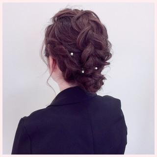 結婚式 ナチュラル ヘアアレンジ ヘアピン ヘアスタイルや髪型の写真・画像