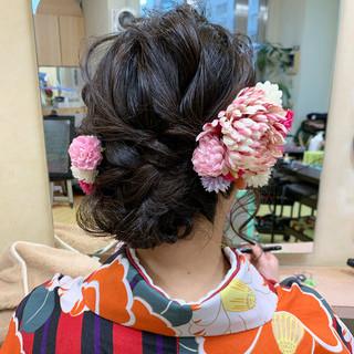 ガーリー ヘアアレンジ 卒業式 袴 ヘアスタイルや髪型の写真・画像