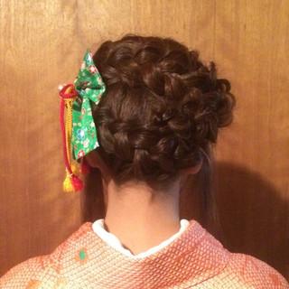 ヘアアレンジ まとめ髪 袴 セミロング ヘアスタイルや髪型の写真・画像