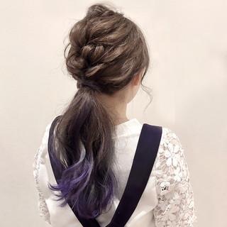 グラデーション 簡単ヘアアレンジ ロング ナチュラル ヘアスタイルや髪型の写真・画像