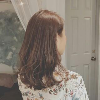 デート 大人かわいい セミロング ナチュラル ヘアスタイルや髪型の写真・画像