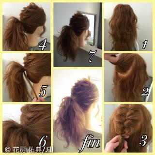 編み込み ポニーテール ショート ヘアアレンジ ヘアスタイルや髪型の写真・画像
