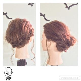 ギブソンタック 編み込み ヘアアレンジ セミロング ヘアスタイルや髪型の写真・画像