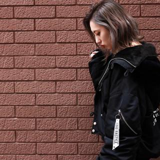 透明感 ミディアム ストリート ベージュ ヘアスタイルや髪型の写真・画像
