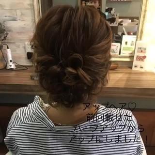 くるりんぱ セミロング フェミニン ヘアアレンジ ヘアスタイルや髪型の写真・画像