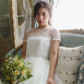 セミロング 大人かわいい 結婚式 ヘアアレンジ ヘアスタイルや髪型の写真・画像