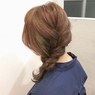大人かわいい ヘアアレンジ ミディアム 三つ編み ヘアスタイルや髪型の写真・画像