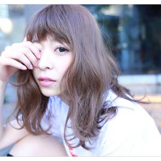 透明感 ヘアアレンジ フェミニン セミロング ヘアスタイルや髪型の写真・画像