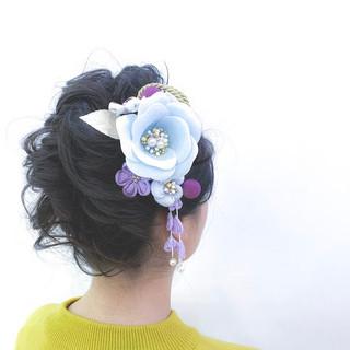 アップスタイル エレガント セミロング 編み込み ヘアスタイルや髪型の写真・画像