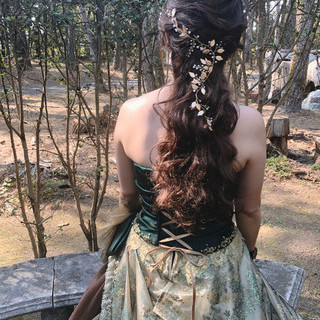 結婚式 ヘアセット ハーフアップ ブライダル ヘアスタイルや髪型の写真・画像