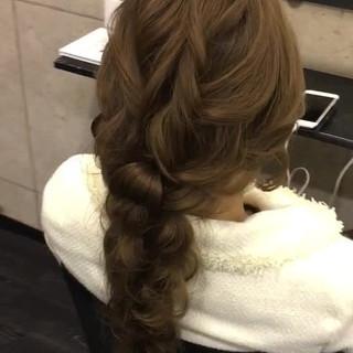 上品 編み込み 結婚式 ヘアアレンジ ヘアスタイルや髪型の写真・画像 ヘアスタイルや髪型の写真・画像