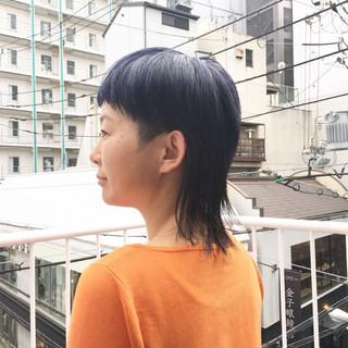 マッシュウルフ マッシュショート ショート コリアンネイビー ヘアスタイルや髪型の写真・画像