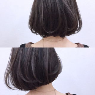 フェミニン ボブ ゆるふわ 暗髪 ヘアスタイルや髪型の写真・画像