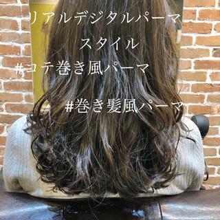 ゆるふわパーマ セミロング フェミニン パーマ ヘアスタイルや髪型の写真・画像