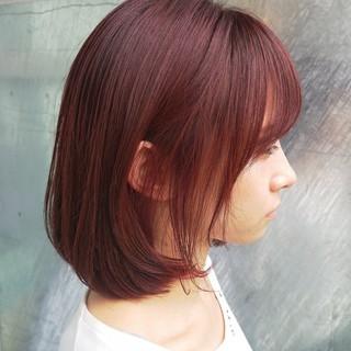 ボブ 大人女子 ラベンダーピンク ガーリー ヘアスタイルや髪型の写真・画像