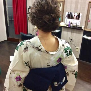 浴衣アレンジ 浴衣ヘア ナチュラル ミディアム ヘアスタイルや髪型の写真・画像