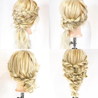三つ編み ロープ編み ヘアアレンジ 上品 ヘアスタイルや髪型の写真・画像