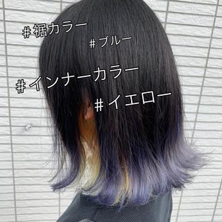 イエロー ストリート ブルー ボブ ヘアスタイルや髪型の写真・画像