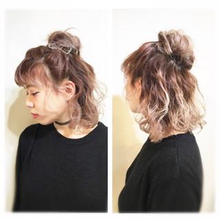 簡単ヘアアレンジ ショート ヘアアレンジ 切りっぱなし ヘアスタイルや髪型の写真・画像