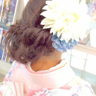 アップスタイル 編み込み パーティ 振袖 ヘアスタイルや髪型の写真・画像