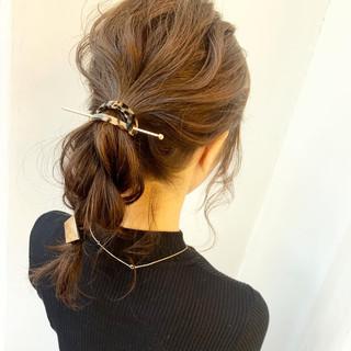 ポニーテール ナチュラル 簡単ヘアアレンジ パーティー ヘアスタイルや髪型の写真・画像 ヘアスタイルや髪型の写真・画像