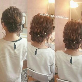 ゆるふわ 結婚式 ヘアアレンジ 二次会 ヘアスタイルや髪型の写真・画像