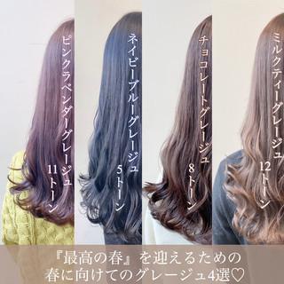 透明感カラー ロング ピンクラベンダー ミルクティーベージュ ヘアスタイルや髪型の写真・画像