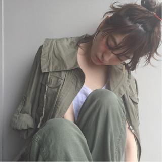 ミディアム フェミニン ハイライト ショート ヘアスタイルや髪型の写真・画像