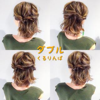 簡単ヘアアレンジ ヘアアレンジ デート ボブ ヘアスタイルや髪型の写真・画像