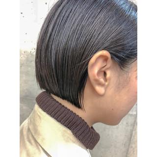 ベージュ ミニボブ ボブ ナチュラル ヘアスタイルや髪型の写真・画像