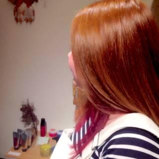 グラデーションカラー ストリート レッド ピンク ヘアスタイルや髪型の写真・画像