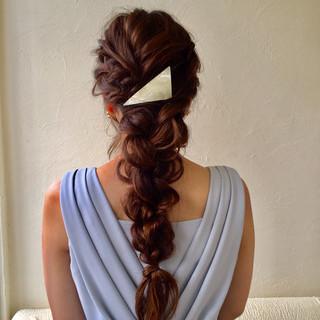 結婚式 ロング フェミニン 編み込み ヘアスタイルや髪型の写真・画像