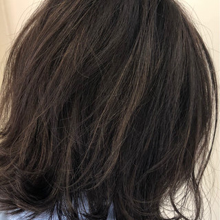 エレガント ボブ 暗髪 グレー ヘアスタイルや髪型の写真・画像