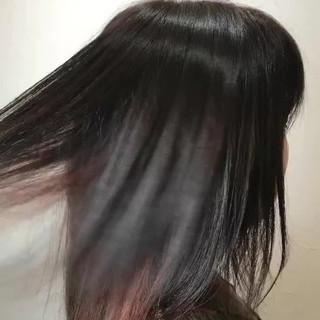 インナーカラー ミディアム アッシュ ストリート ヘアスタイルや髪型の写真・画像