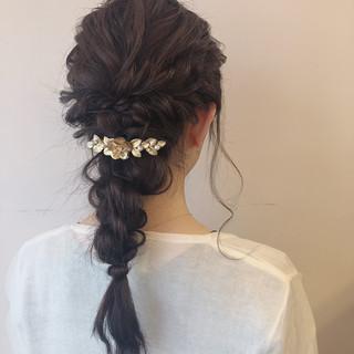 成人式 セミロング ヘアアレンジ 編み込み ヘアスタイルや髪型の写真・画像