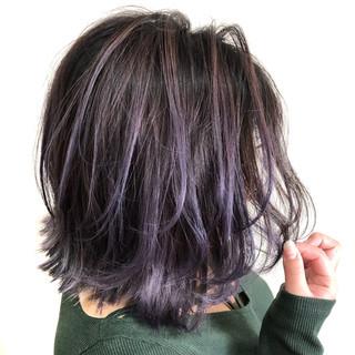 外国人風カラー フェミニン ピンクパープル バレイヤージュ ヘアスタイルや髪型の写真・画像