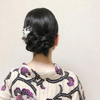ミディアム 浴衣ヘア 結婚式 黒髪 ヘアスタイルや髪型の写真・画像