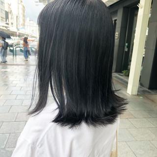 アッシュグラデーション アッシュグレージュ ミディアム ナチュラル ヘアスタイルや髪型の写真・画像