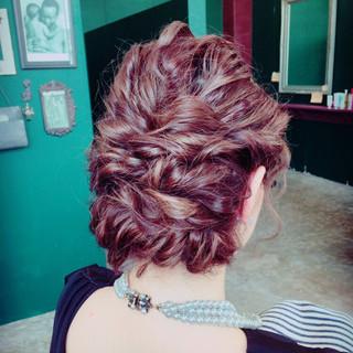 フェミニン ミディアム 結婚式 ヘアアレンジ ヘアスタイルや髪型の写真・画像