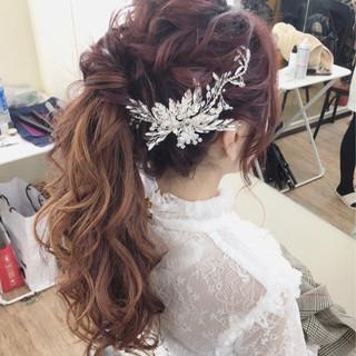 結婚式 ロング 上品 ヘアアレンジ ヘアスタイルや髪型の写真・画像