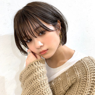 ショートボブ 可愛い ナチュラル 小顔ヘア ヘアスタイルや髪型の写真・画像