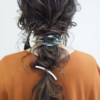 ナチュラル ロング 結婚式 簡単ヘアアレンジ ヘアスタイルや髪型の写真・画像