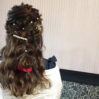 ハーフアップ 結婚式 ロング ヘアアレンジ ヘアスタイルや髪型の写真・画像